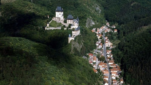 Aerial view of the Karlstejn Castle and town below in the Czech Republic