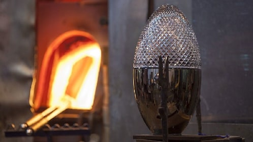 Blown glass egg at the Nizbor Glass Factory in Prague