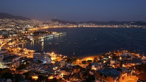 Illuminated Acapulco at night