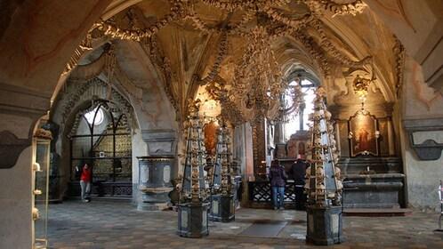Skulls and bones decorate the interior of Sedlec Chapel in Kutna Hora