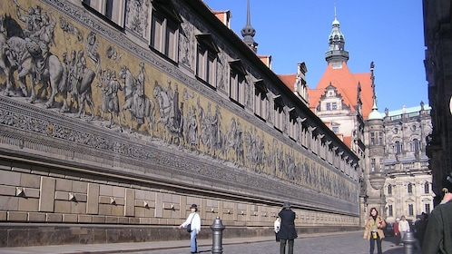 Large mural along the wall of the Dresden Castle in Dresden