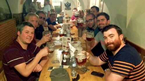 People enjoying beers in Prague