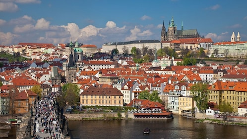 View of the city and Charles Bridge in Prague