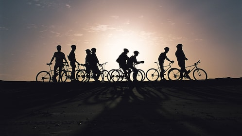 Silhouette of bicyclists in St Lucia