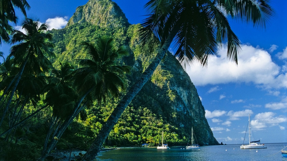 Show item 4 of 9. Ships anchored in the water next to one of the pitons of St Lucia