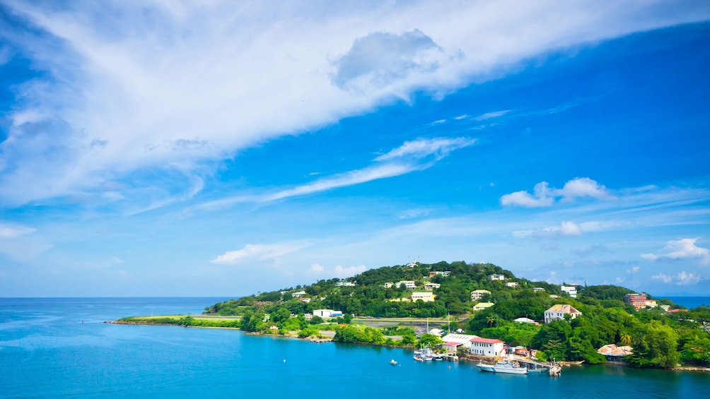 Show item 2 of 9. Aerial view of coastal town in St Lucia