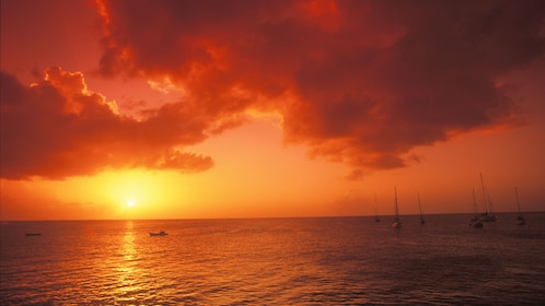 Seascape at sunset in St Lucia