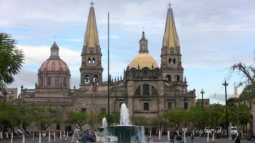Cathedral and fountain in Guadalajara
