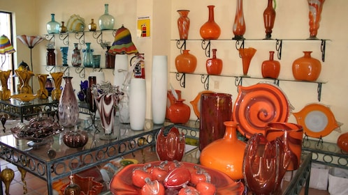 Blown glass vases and sculptures in a shop