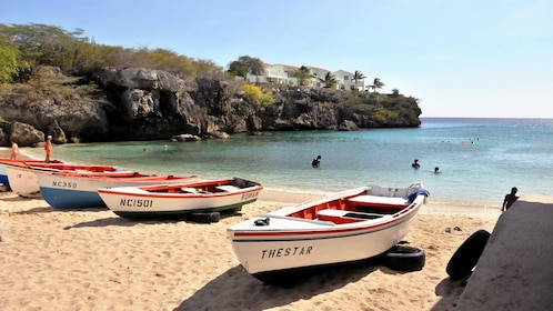 View of the boats along the shores of the Playa Lagun in Cuaracao