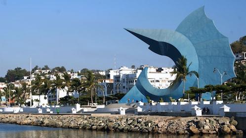 Swordfish sculpture on the shore in Manzanillo