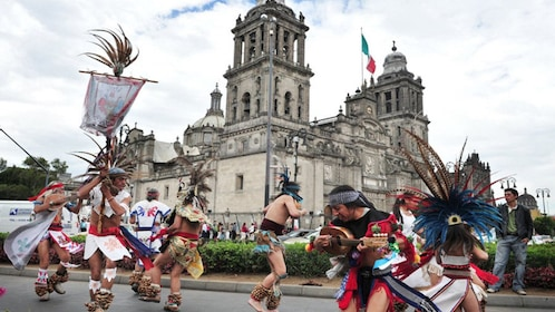 Dancers outside the Mexico City Metropolitan Cathedral