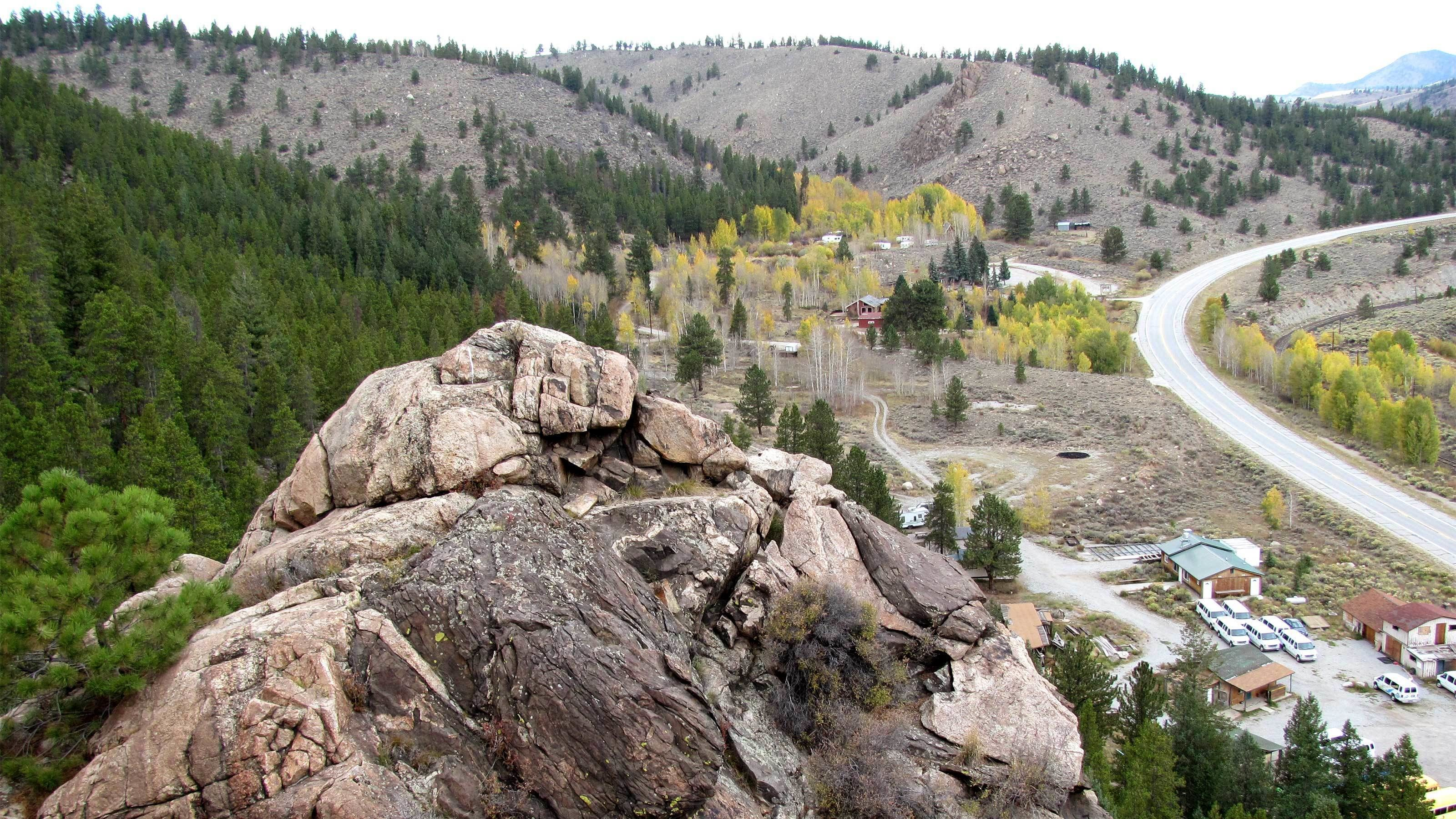 On top of the rock climbing cliff in Denver
