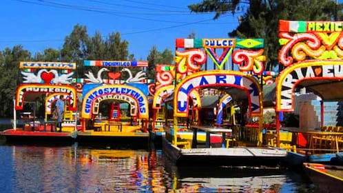 Colorful trajinera boats on the water in Mexico
