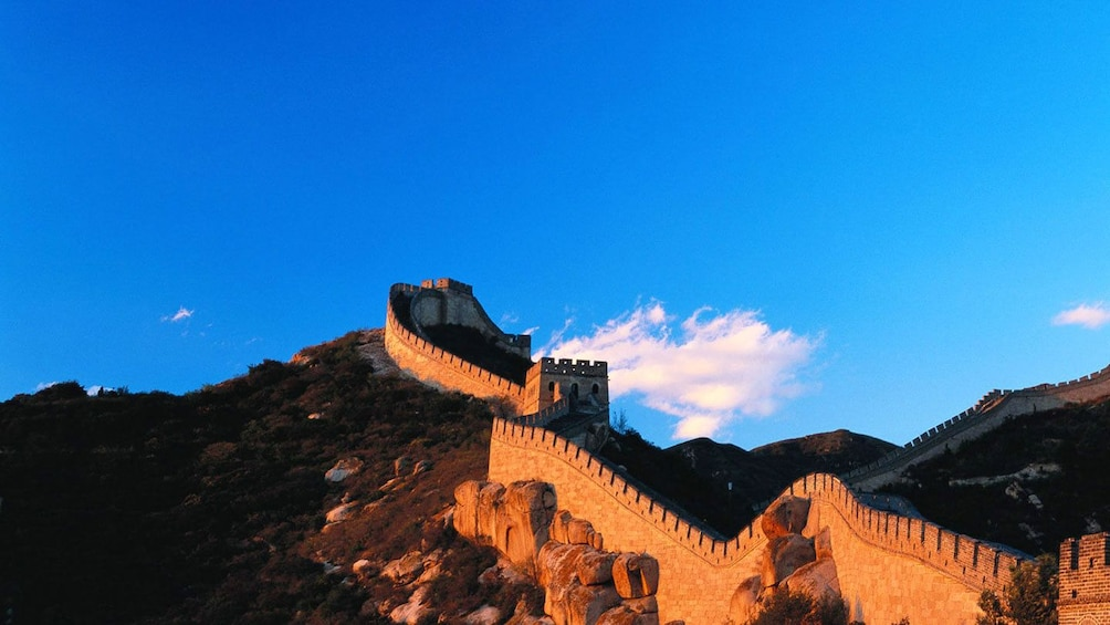 Sun setting on the Great Wall in China