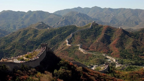 The Great wall stretching across the mountainous landscape in China