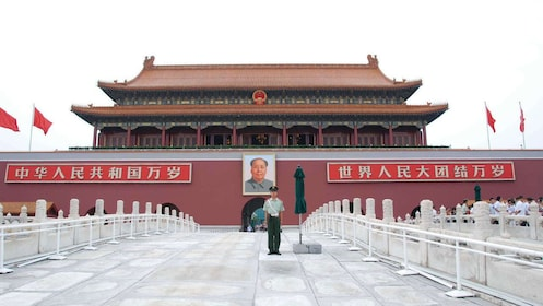 Guard at the entrance of Tiananmen Square in China