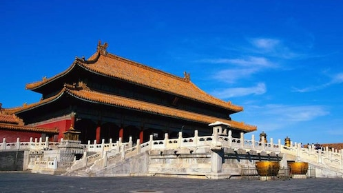 At the entrance of the Forbidden City in China
