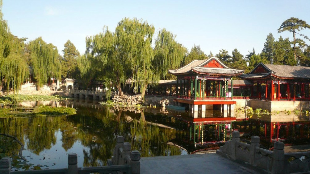 Show item 1 of 10. Historic structure around a still pond in Beijing