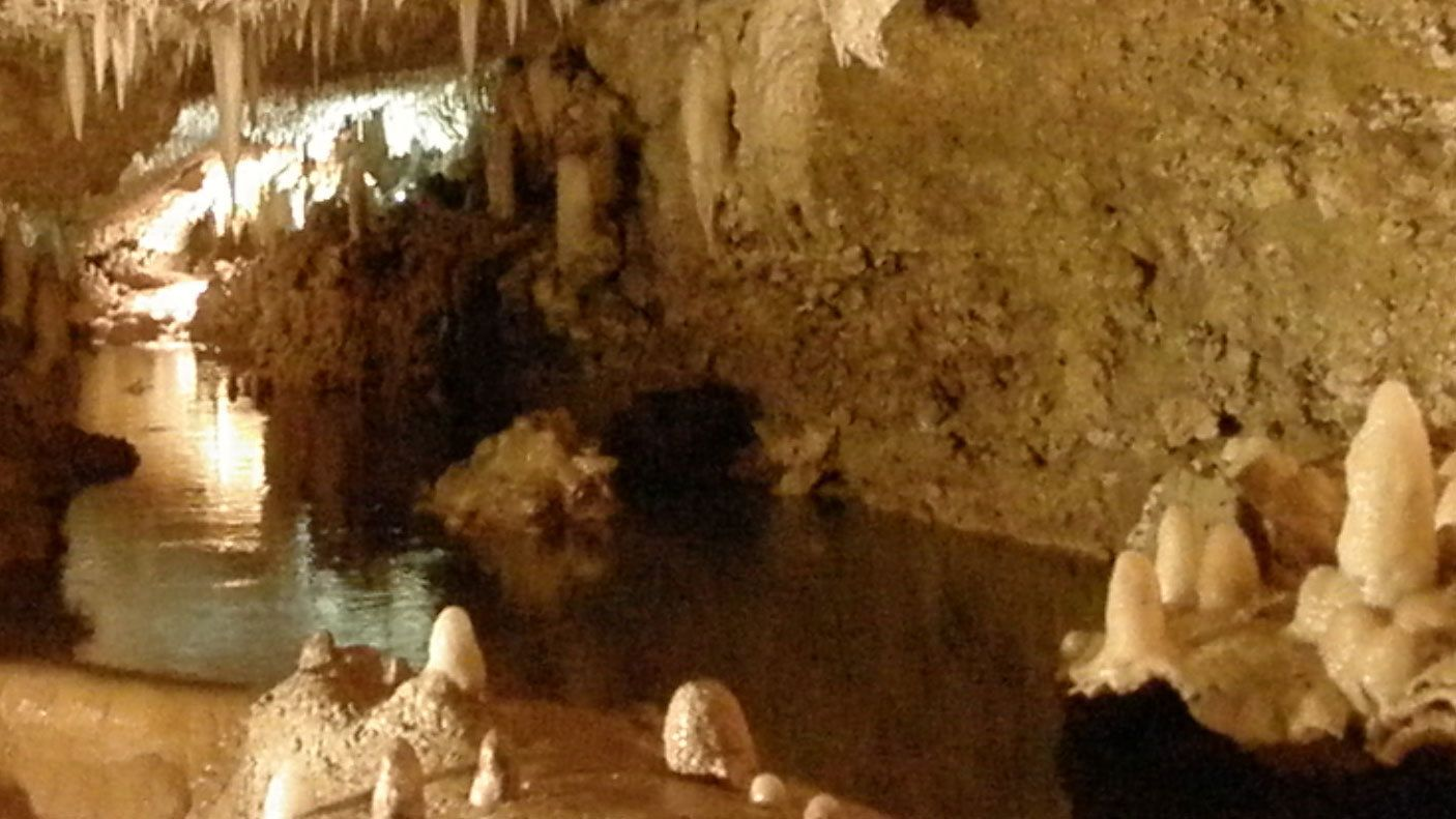 Inside Harrisons cave in Barbados
