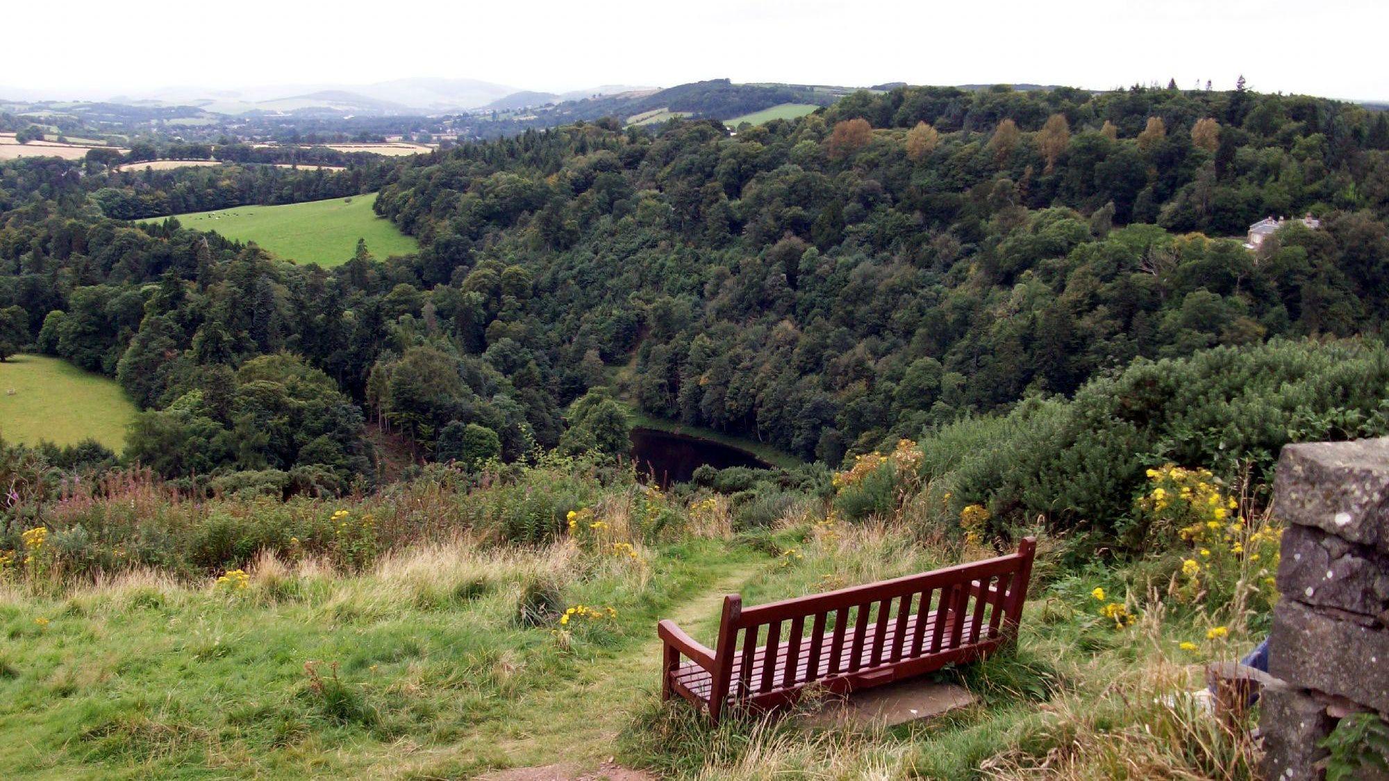 bench at overlook in Edinburgh