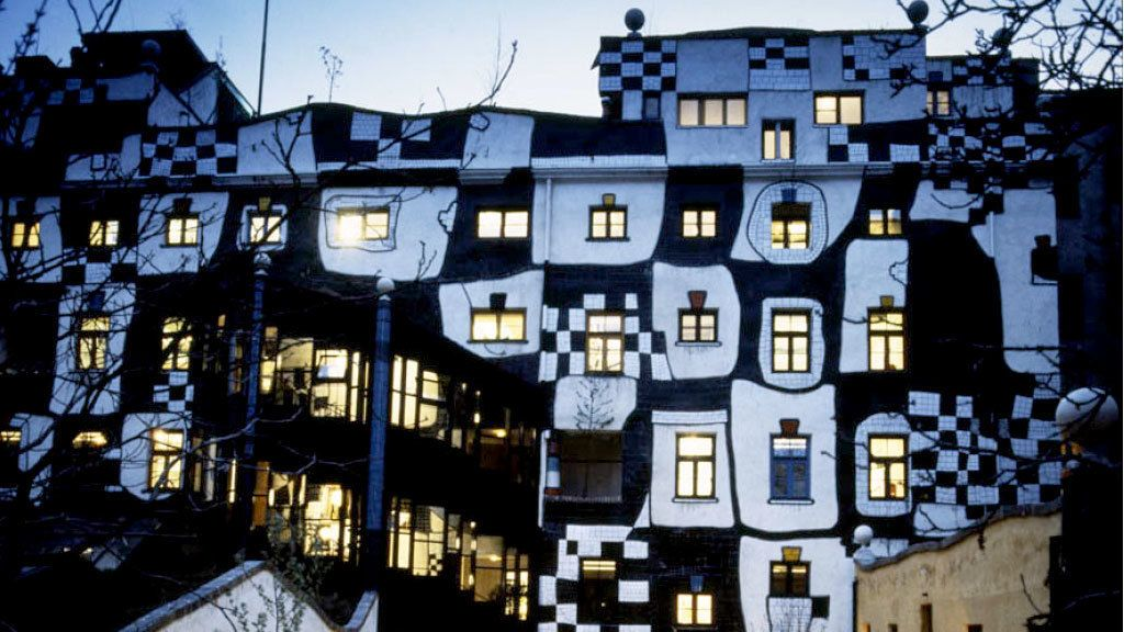 Black and white checker pattern on the wall of the KunstHauwWien Museum in Vienna