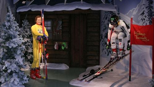 Pair of wax figure skiers at Madam Tussauds in Vienna