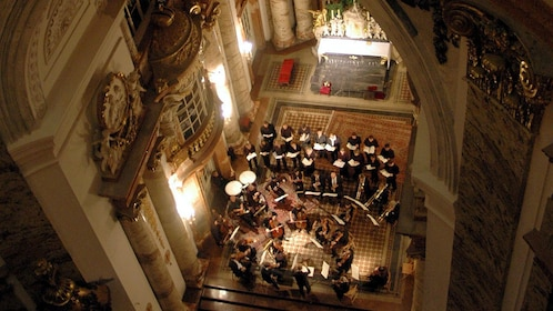 View from a balcony looking down at the orchestra in St. Charles's Church in Vienna