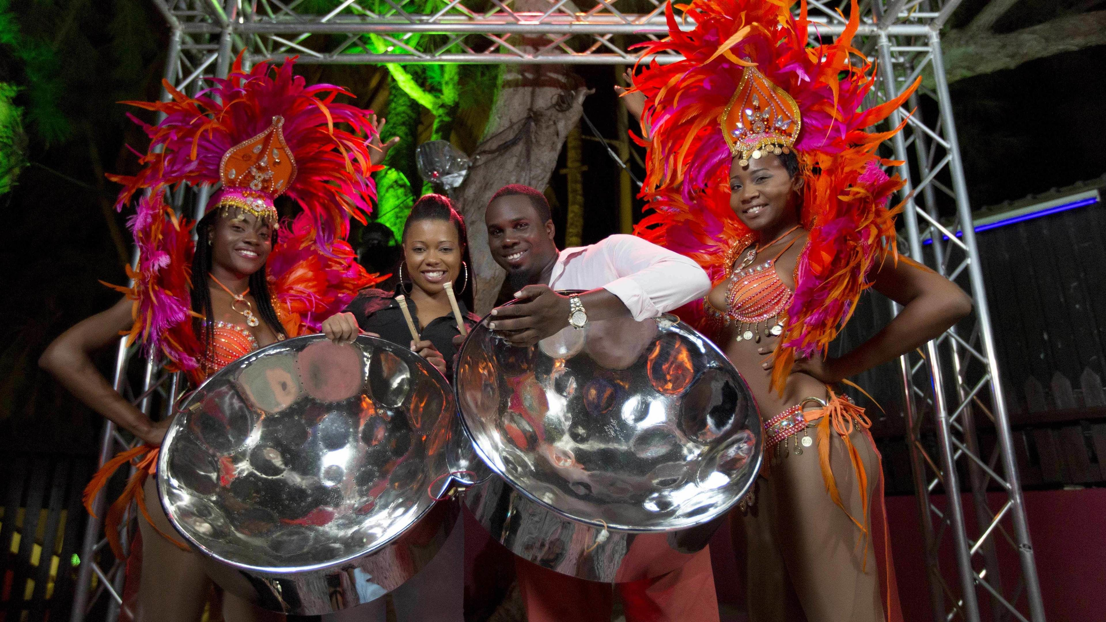 Performers in colorful costumes in Barbados