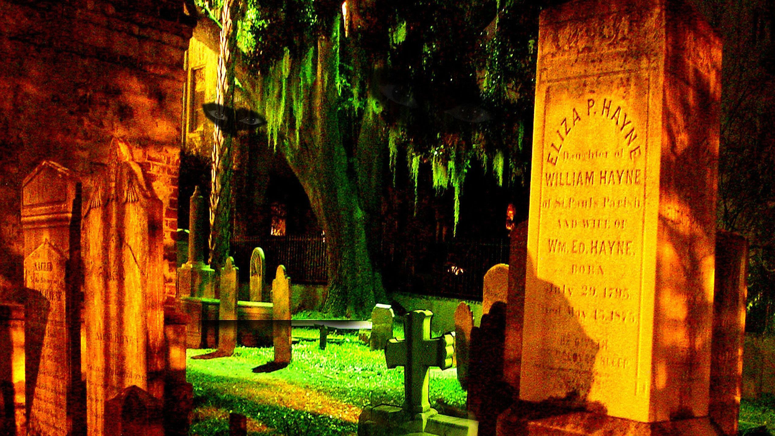 Graveyard at night in Charleston