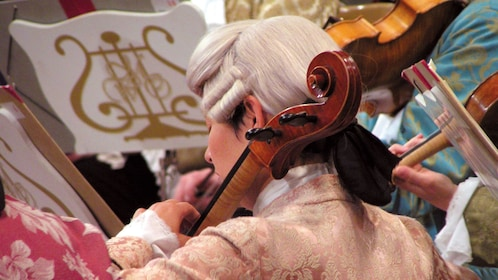 Cellist in period costume and wig performing Mozart in Vienna