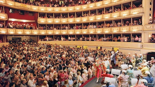Audience gives a standing ovation for an orchestral performance in a large music hall in Vienna