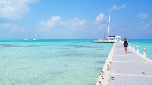 Walking on the pier in Grand Cayman