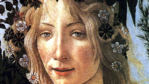 Painting close up on Accademia and Uffizi Guided Tour in Italy