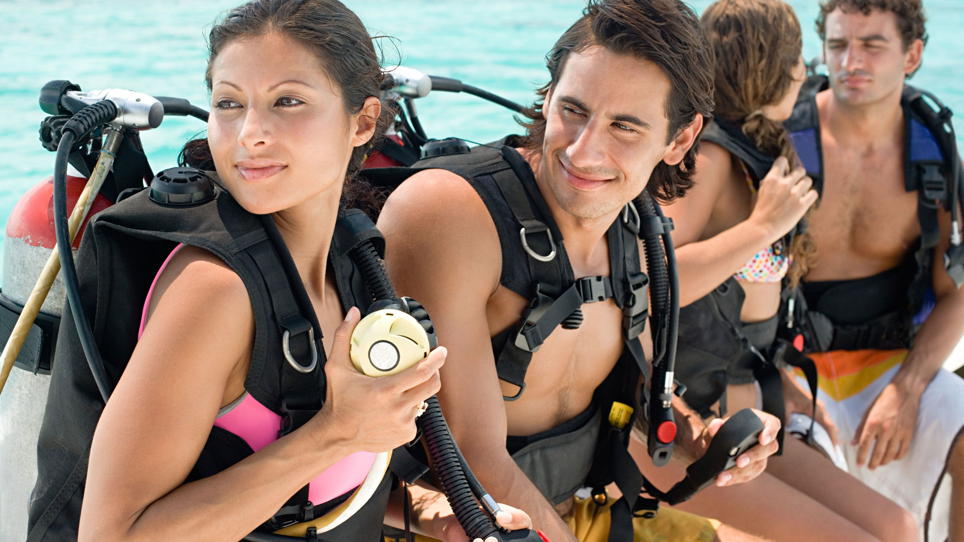 Scuba divers gearing up in Grand Cayman