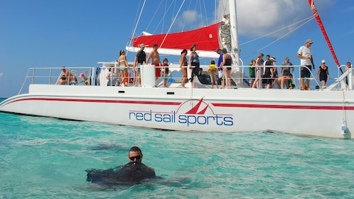Interacting with stingray in Grand Cayman