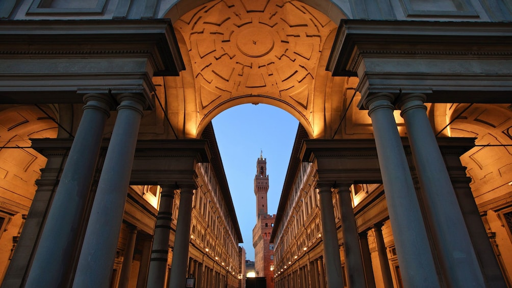 Show item 3 of 10. Ornate architecture on Uffizi Gallery tour in Florence Italy