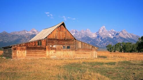 Barn and mountain view at Grand Teton National Park