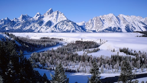Scenic view of the mountains with snow on them at the Grand Teton National Park