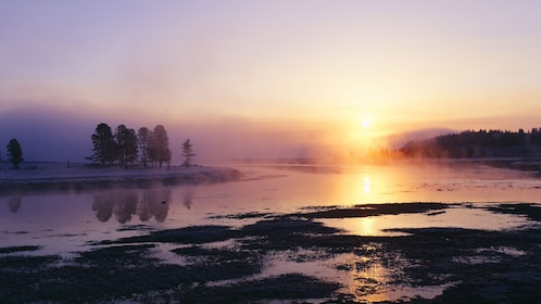 Scenic sunset view of Yellowstone National Park