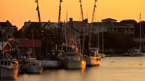 Boats in a harbor in Charleston at sunset
