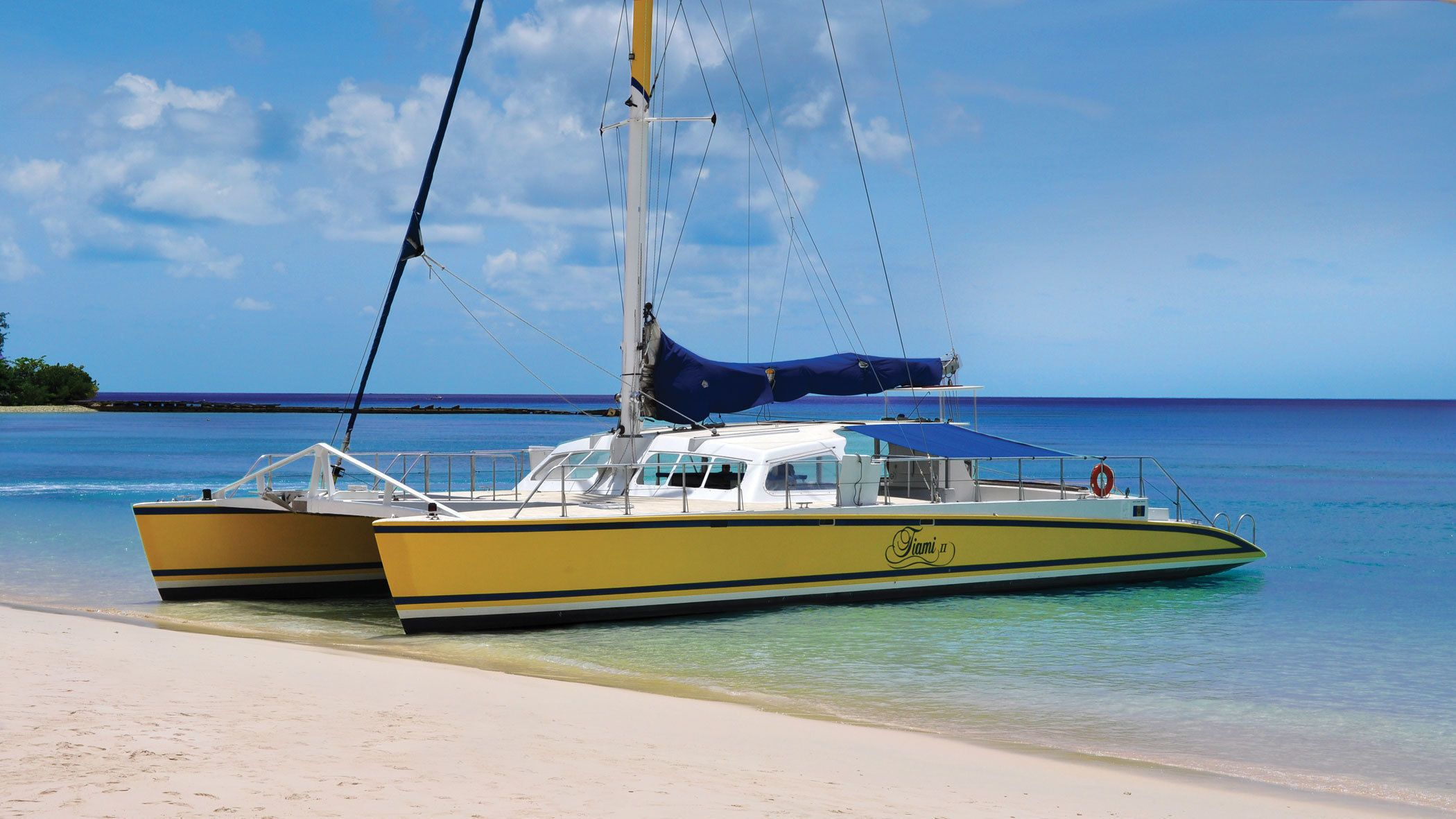 cruise boat at beach in Barbados