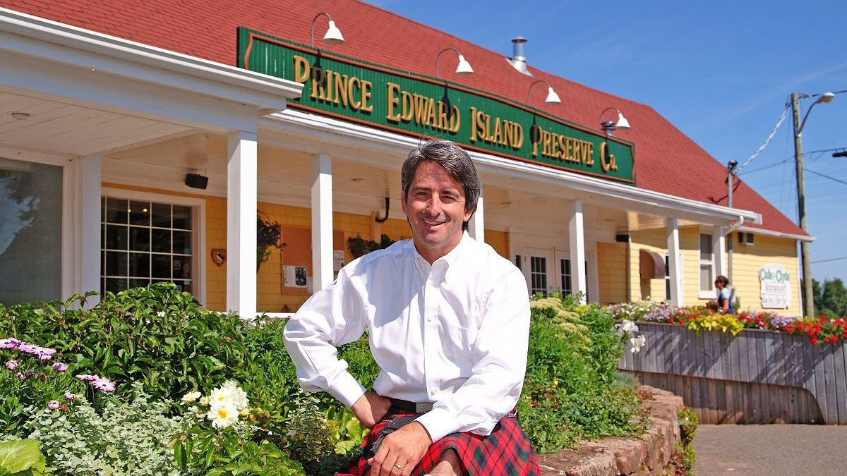 Chef standing in front of his restaurant, Prince Edwards Island Preserve Company in Charlottetown