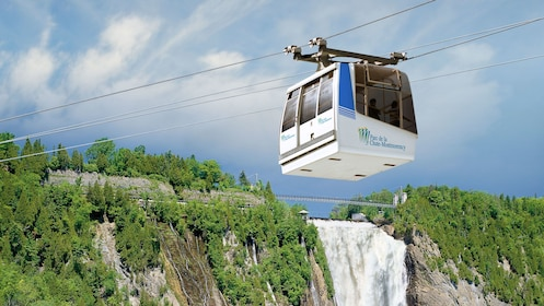 Gondola rising up to the Montmorency Falls of Quebec