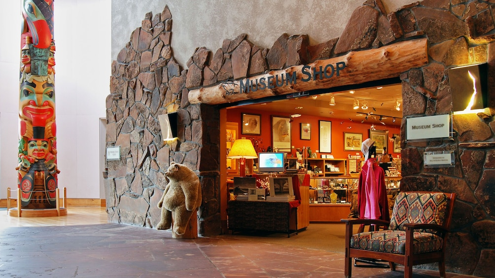 Entrance to museum shop at the National Museum of Wildlife Art in Jackson Hole