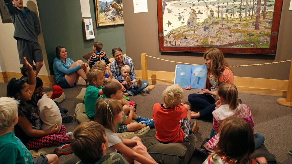Show item 5 of 7. Children at story time at the National Museum of Wildlife Art