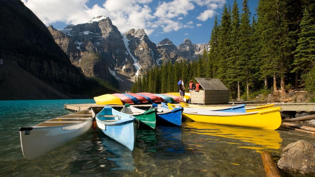 Kayaks on a lake in Banff