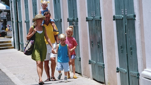 Family walking down the street in St Lucia