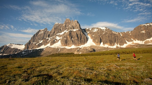 Couple running through an open grass field with Maligne Canyon in the background