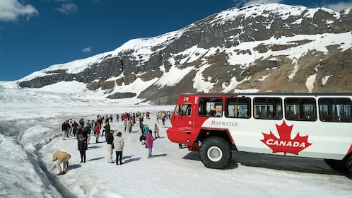 Tourists depart the off-road tour bus and set foot on the Columbia Icefields
